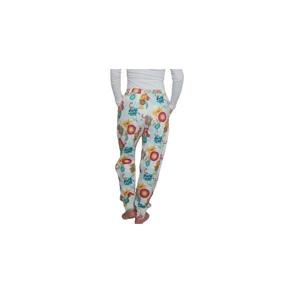 Desigual fehér színes virágos női pamut nadrág Pant Essetial