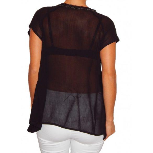 Desigual fekete strasszos női rövidujjú blúz