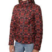 Desigual fekete bordó mintás női rövid téli toll kabát Abrig Brillo