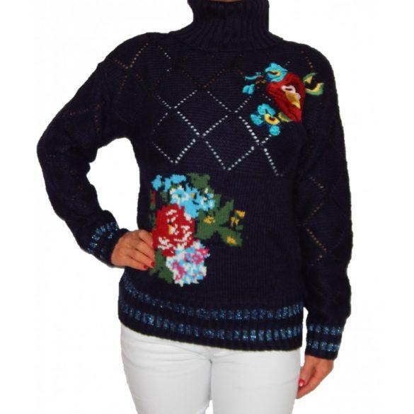 Desigual sötétkék virágos vastag kötött garbó pulóver Jers Janirta