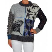 Desigaul szürke-kék kötött női pulóver Jers Hassan