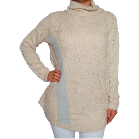 Desigual krém kötött garbós női pulóver Jers Bordado(M)