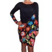 Desigaul fekete színes virágos női hosszú ujjú ruha Vest Garry