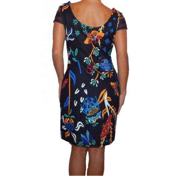 Desigual csíkos virágos rövidujjú női ruha Vest Dorotea