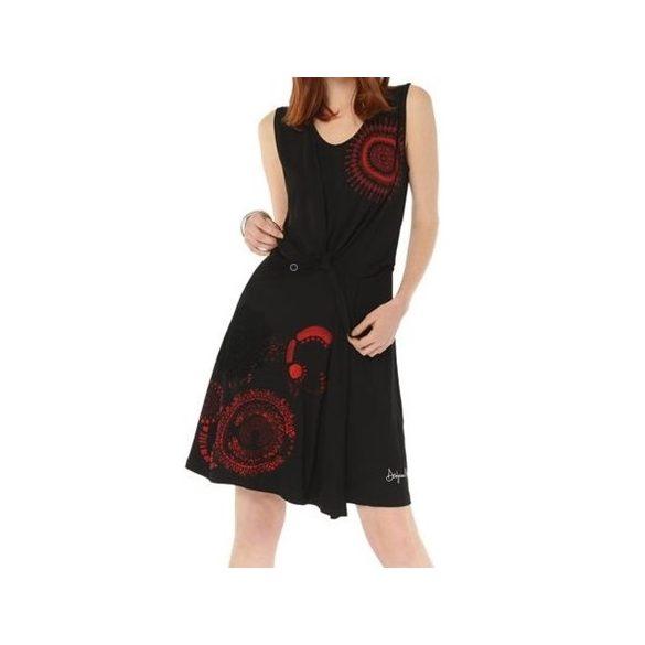 Desigual fekete piros mintás ujjatlan A-vonalú női pamut ruha Vest Encarna