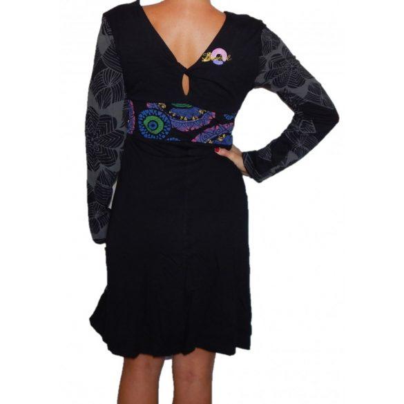 Desigual fekete mandala mintás női hosszú ujjú ruha Vest Lola