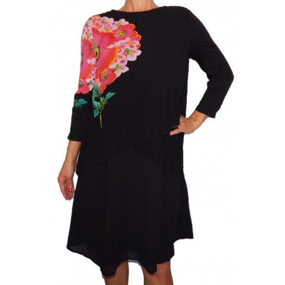 Desigual fekete virágos női hosszú ujjú ruha Vest Betsy