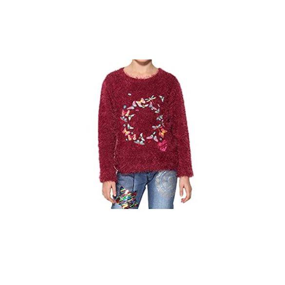 Desigual bordó szőrmés kislány kötött pulóver Jers Anaximenes