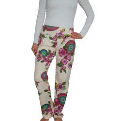 Desigual barackvirág színű virágos mandalás női pamut nadrág Pant Sweet Mandala