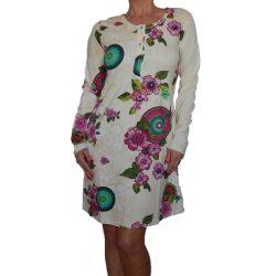 Desigual halvány barack színű virágos mandalás hosszú ujjú női pamut hálóruha
