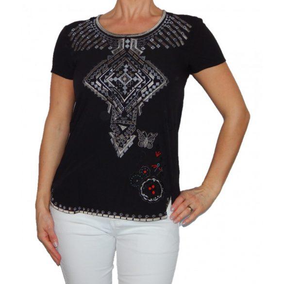 Desigual fekete hímzett női rövidujjú blúz(XS)