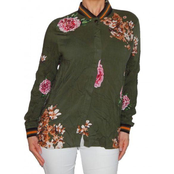 Desigual zöld rózsaszín virágos selmyes női hosszú ujjó blúz