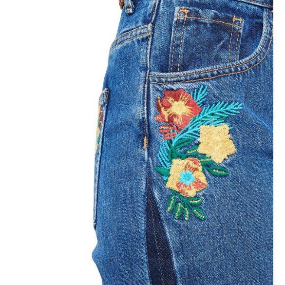 Desigual répafazonú koptatt farmerkék női nadrág Denim Mon Flowers