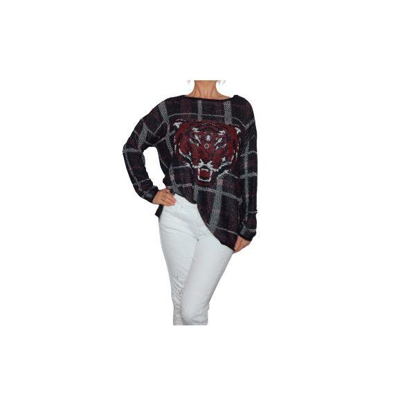 Desigual bordó szürke kötött tigrises női kötött pulóver