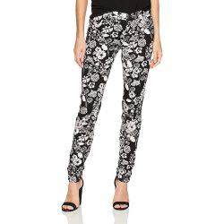 Desigual fekete fehér virágos női pamut nadrág Pant Clau