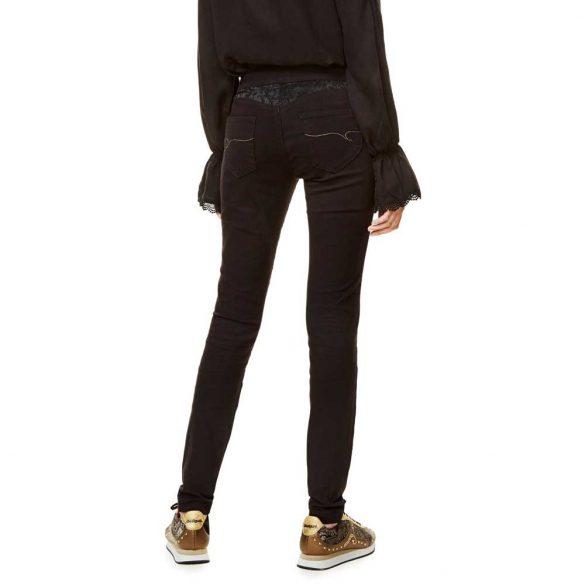 Desigual fekete virágmintás sztreccses női nadrág