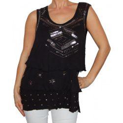 Desigual fekete ezüst gyöngyös ujjatlan női felső Ts Isabella(XL)