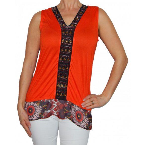 Desigual narancssárga ujjatlan női divatos felső Ts Sabel