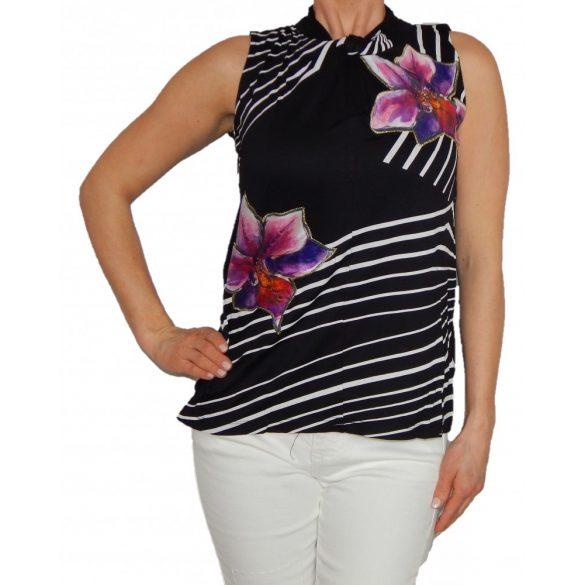 Desigual fekete fehér csíkos színes virágos ujjatlan női póló Ts Alexa