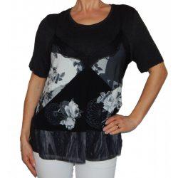 Desigual szürke virágos rövidujjú női felső külön trikóval Ts Byron