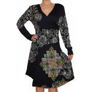 Desigual hosszú ujjú fekete virágos női pamut ruha Vest Gina