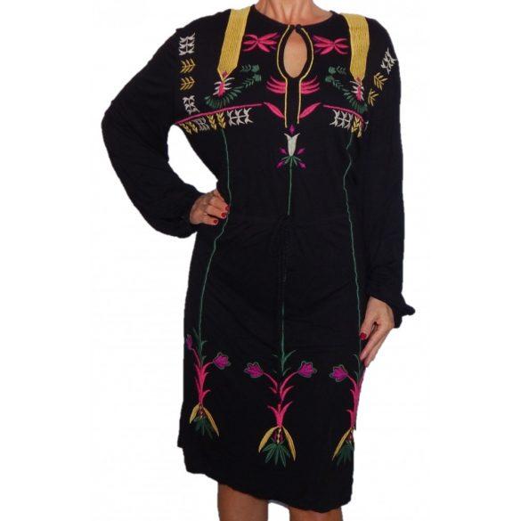 Desigual fekete színes hímzett pamut ruha Desigual Georgette
