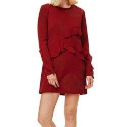Desigual bordó hosszú ujjú női fodros ruha Vest Flopo
