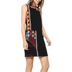 Desigual fekete színes hímzett női ujjatlan ruha Vest Grecia