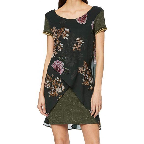 Desigual női zöld barna virágmintás rövidd ujjú csillámos női ruha