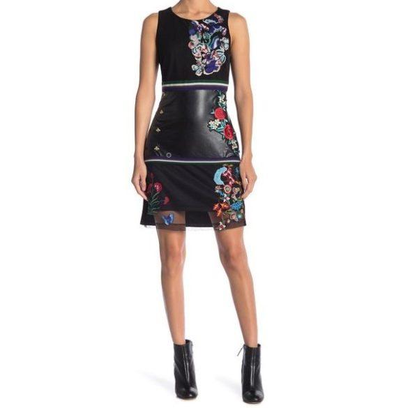 Desigual fekete hímzett női ruha bőr résszel Vest Geraldine