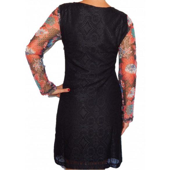 Desigual fekete színes ujjú női csipkeruha Vest Pichi Ml