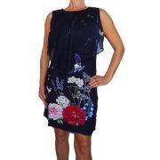 Desigual fekete virágmintás női ujjatlan ruha Vest Evita