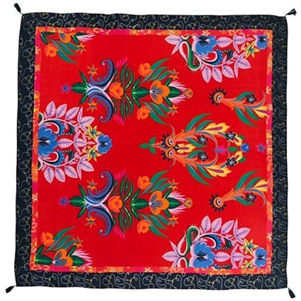 Desigual piros és fekete színes mintás rojtos női sál