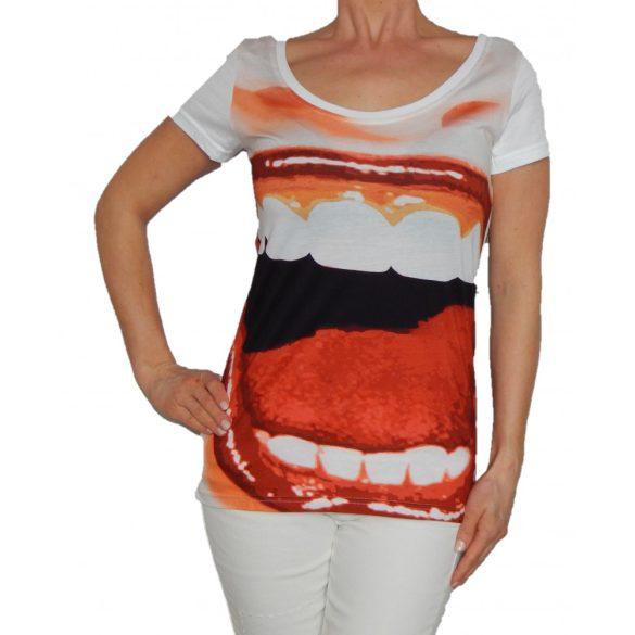 Desigual fehér színes ajak mintás pamut női póló Rs Mily