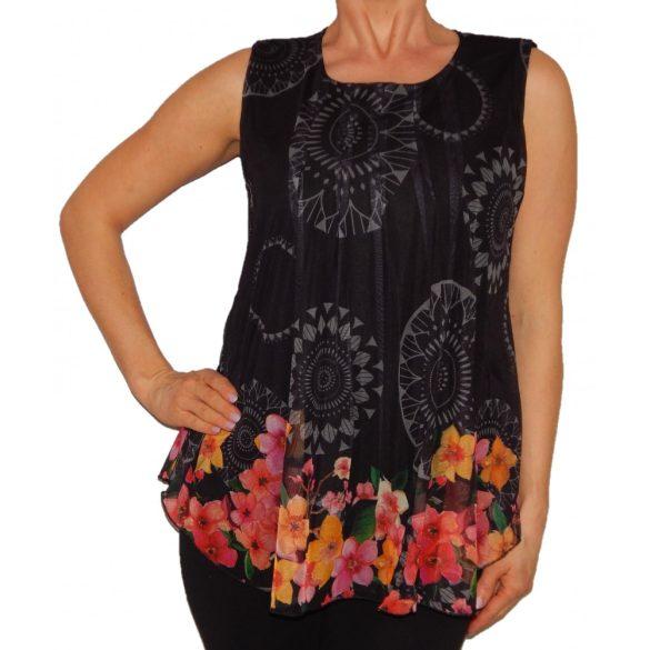 Desigual felső ujjatlan fekete virágos Ts Silvia