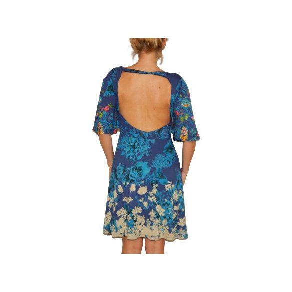 Desigual kék virágos lenge nyári női pamut ruha Vest Brenda
