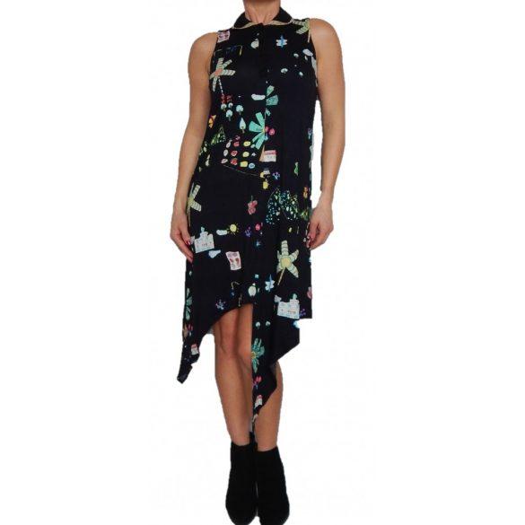 Desigual fekete virágos lenge nyári pamut ruha Vest Mariona