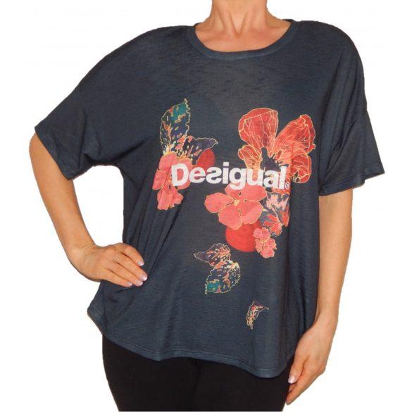 Női póló szürke virágos Ts Desigual Scarlet Bloom