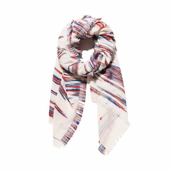 Desigual krém színű csíkos mintás rojtos női pamut sál