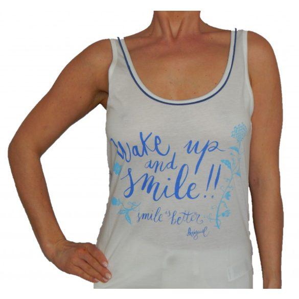 Desigual fehér kék feliratos vékony pamut trikó Ts wake up