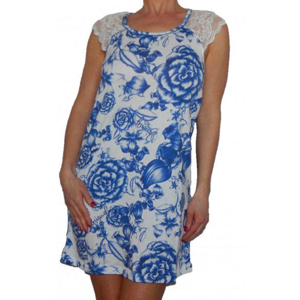 Desigual fehér kék virágos csipkés rövidujjú hálóruha