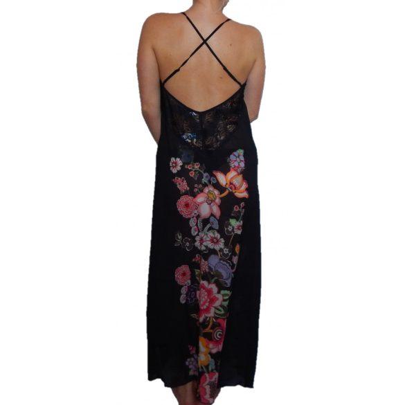 Desigual fekete virágos hosszú selyem hálóing