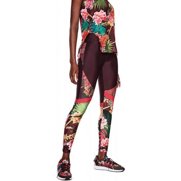 Desigual bordo virágos női sport legging