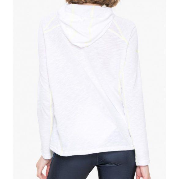 Desigual vékony fehér kapucnis hosszú ujjú női pamut póló