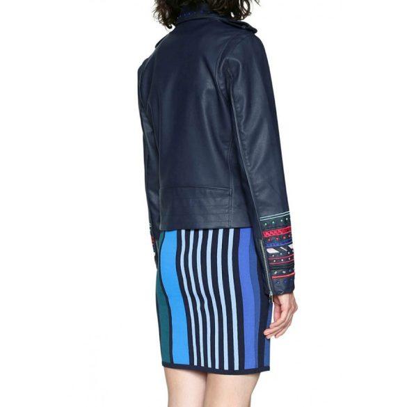 Desigual sötétkék hímzett ujjú műbőr női dzseki