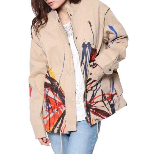 Desigual barna színes csíkos mintás női pamut dzseki