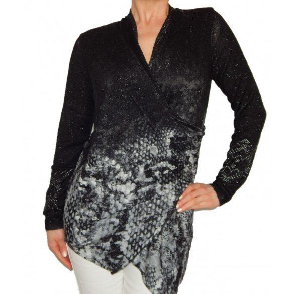 Desiugla fekete ezüst asszimetrikus kötött női pulóver Jers Baku