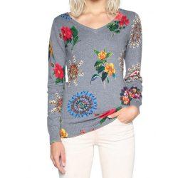 Desigual szürke hímzett színes virágos vékony kötött női pulóver Jers Perkin