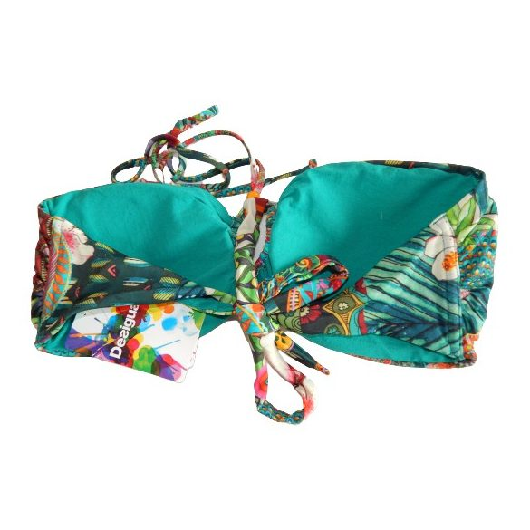 Desigual bikini felső zöld virágmintás Biki Morey (XL)
