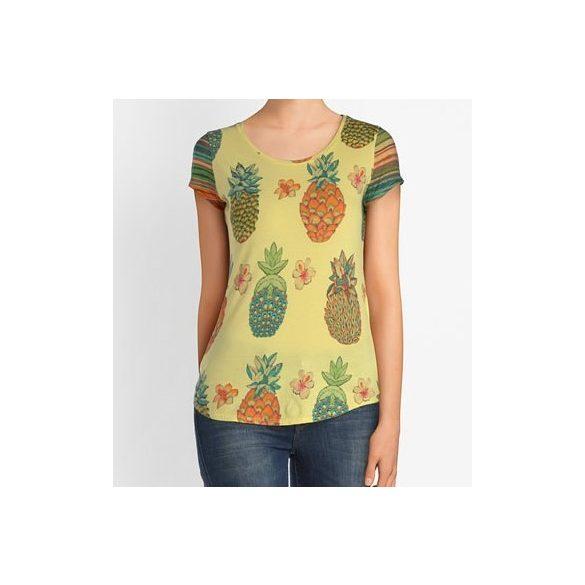 Desigual citromsárga ananász mintás női pamut póló Ts Camille